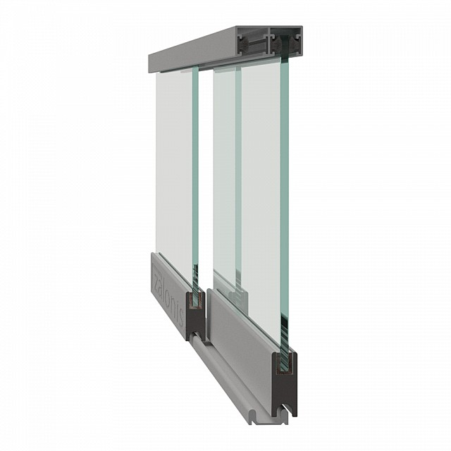 FRAMELESS SLIDING GLASSES RAIL WITH CURVED WHEEL
